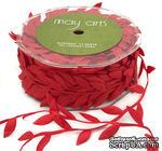 Лента Leaves Ribbon, 90 см, цвет красный  (дина листика 12 мм) - ScrapUA.com
