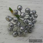 Ягодки HOLLY c глиттером, пластик,  цвет серебро, 6 шт. - ScrapUA.com