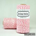 Хлопковый шнур от Divine Twine - Coral, 1 мм, цвет коралловый/белый, 1м - ScrapUA.com