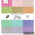 Набор кардстока DCWV Glitzy, 15х15 см, 24 листа, с глиттером - ScrapUA.com