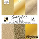 Набор кардстока DCWV Solid Golds, 15х15 см, 18 листов, золото, разные текстуры - ScrapUA.com