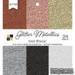 Набор кардстока DCWV Glitter Metallics Solid, 15х15 см, 24 листа, с глиттером - ScrapUA.com