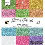 Набор кардстока DCWV Glitter Pastels Solid, 15х15 см, 24 листа, с глиттером - ScrapUA.com