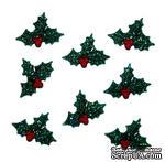Набор декоративных пуговиц Dress It Up - Glitter Holly - ScrapUA.com