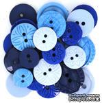 Набор декоративных пуговиц Dress It Up - Blue - ScrapUA.com