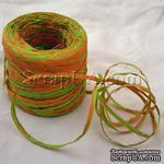 Рафия натуральная, цвет зеленый с оранжевым, 1 метр - ScrapUA.com