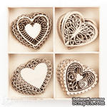 Набор деревянных украшений dpCraft (Dalprint) - Hearts, 20 шт. - ScrapUA.com