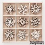 Набор деревянных украшений dpCraft (Dalprint) - Snowflakes, 45 шт. - ScrapUA.com
