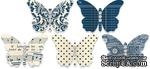 Бабочки из плотного кардстока с рисунком Jenni Bowlin Embellished Butterflies - Navy, 5 штук, цвет темно-синий - ScrapUA.com
