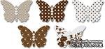 Бабочки из веллума с рисунком Jenni Bowlin Vellum Embellished Butterflies - Brown, 5 штук, цвет коричневый - ScrapUA.com