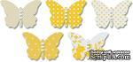 Бабочки из веллума с рисунком Jenni Bowlin Vellum Embellished Butterflies - Yellow, 5 штук, цвет желтый - ScrapUA.com