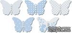 Бабочки из веллума с рисунком Jenni Bowlin Vellum Embellished Butterflies - Blue, 5 штук, цвет голубой - ScrapUA.com
