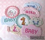 Цветной чипборд рамки от Евгения Курдибановская ТМ - Baby Shower, 6 рамок + 6 вкладышей - ScrapUA.com