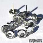 Набор брадсов Eyelet Outlet - Jewel Brads Clear, цвет прозрачный, в серебристой оправе, 16 мм, 10 штук - ScrapUA.com