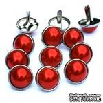 Набор брадсов Eyelet Outlet - Pearl Brads Red/Silver, цвет красный, в серебристой оправе, 12 мм, 10 штук - ScrapUA.com