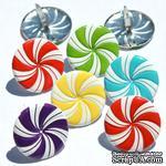 Набор брадсов Eyelet Outlet - Peppermint Candy Brads, 12 штук - ScrapUA.com