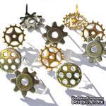 Набор брадсов Eyelet Outlet - Gear Brads, 12 штук - ScrapUA.com