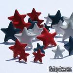 Набор брадсов Eyelet Outlet - Red, White, Blue Star Brads - Звезды красные-синие-белые, 18 штук - ScrapUA.com