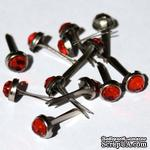 Набор брадсов Eyelet Outlet - Jewel Brads Red, цвет красный, 5 мм, 10 штук - ScrapUA.com