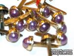 Набор брадсов Eyelet Outlet - Pearl Brads Purple/Gold, цвет фиолетовый, 5 мм, 10 штук - ScrapUA.com