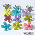 Набор брадсов Eyelet Outlet - Stitched Flower Brads - Bright, 12 штук - ScrapUA.com
