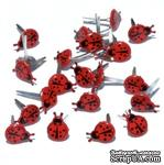 Набор брадсов Eyelet Outlet - Mini Lady Bug Brads, 12 штук - ScrapUA.com