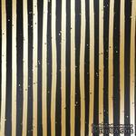 Лист односторонней бумаги с фольгированием Golden Stripes Black 30,5х30,5 см, ТМ Фабрика Декора - ScrapUA.com