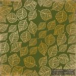 Лист односторонней бумаги с фольгированием Golden Delicate Leaves Botany summer 1, ТМ Фабрика Декора - ScrapUA.com