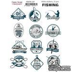 Набор наклеек (стикеров) 12 шт Рыбалка EN #147, ТМ Фабрика Декора - ScrapUA.com