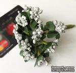 Веточки с ягодками, цвет серебро, 12 штук - ScrapUA.com