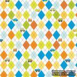 Ткань 100% хлопок - Яркие ромбы и детские машинки, 45х55 см - ScrapUA.com