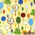 Ткань 100% хлопок - Веселые деревья, 45х55 см - ScrapUA.com