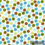 Ткань 100% хлопок - Горошки голубые коричневые зеленые на белом, 45х55 см - ScrapUA.com