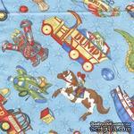 Ткань 100% хлопок - Игрушки для мальчиков на голубом, 45х55 см - ScrapUA.com