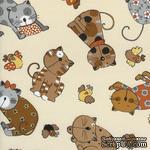 Ткань 100% хлопок - Коты пятнистые коричневые и серые, 45х55 см - ScrapUA.com