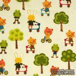 Ткань 100% хлопок - Звери на великах и роликах, 45х55 см - ScrapUA.com