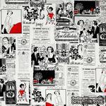 Ткань 100% хлопок - Газета о моде с красным, 45х55 см - ScrapUA.com
