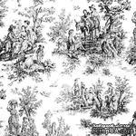 Ткань 100% хлопок - Пастораль черно-белая, 45х65 см - ScrapUA.com