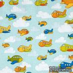Ткань 100% хлопок - Самолетики в облаках, 45х55 см - ScrapUA.com