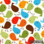 Ткань 100% хлопок - Весенние птички яркие, 45х55 см - ScrapUA.com