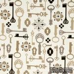 Ткань 100% хлопок - Ключи и замки, 45х55 см - ScrapUA.com