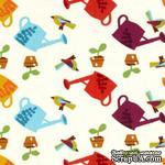 Ткань 100% хлопок - Садовые леечки, 45х55 см - ScrapUA.com