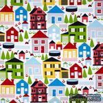 Ткань 100% хлопок - Веселые домики, 45х55 см - ScrapUA.com
