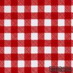 Ткань 100% хлопок - Клетка средняя красная, 45х55 см - ScrapUA.com