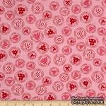 Ткань 100% хлопок - Сердечки в кружочках на розовом, 45х55 см - ScrapUA.com