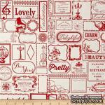 Ткань 100% хлопок - Тэги красные, 45х55 см - ScrapUA.com