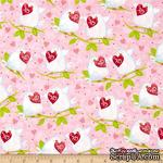 Ткань 100% хлопок - Голуби с сердечками на розовом, 45х55 см - ScrapUA.com