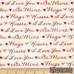 Ткань 100% хлопок - Надписи о любви красные на кремовом, 45х55 см - ScrapUA.com