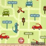 Ткань 100% хлопок, фланель - Машинки на дороге на зеленом, 45х55 см - ScrapUA.com