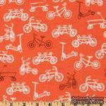 Ткань 100% хлопок - Велосипеды на оранжевом, 45х55 см - ScrapUA.com
